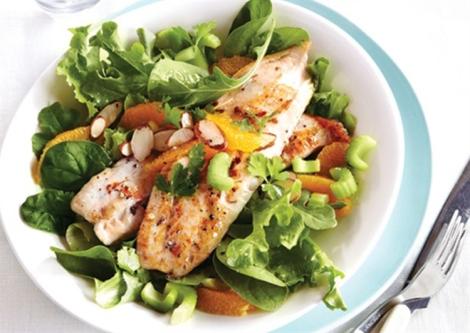 Mandarin Tilapia Spinach Salad